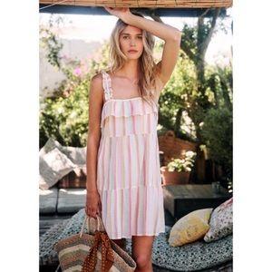 Sezane Fily Pastel Pink Striped Ruffle Dress